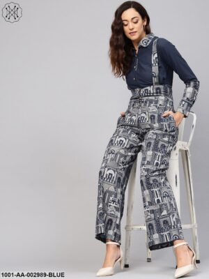Blue Hawa Mahal Printed Dungaree With Shirt