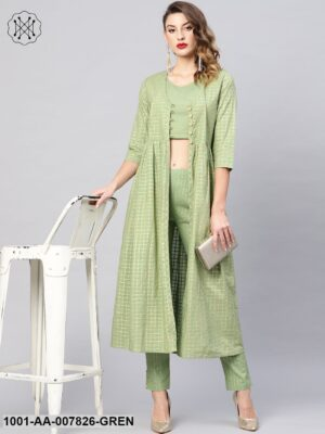 Green Gold Self Designed Top With Trouser And Jacket