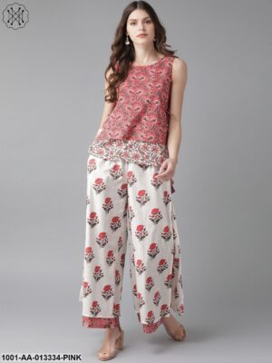 Pink Printed Top With Palazzo