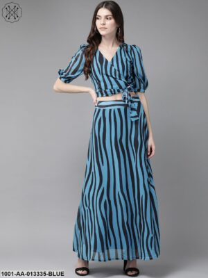 Blue And Black Zebra Print Lehenga And Crop Top