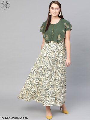 Cream And Olive Printed Maxi With Cape