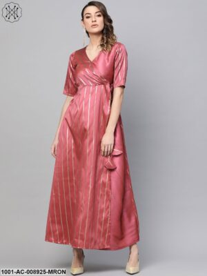 Pink Self Designed Layered Maxi Dress