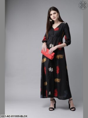 Black Printed Gathered Dress