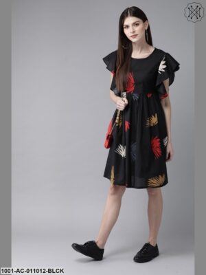 Black Printed Flared Sleeve Dress