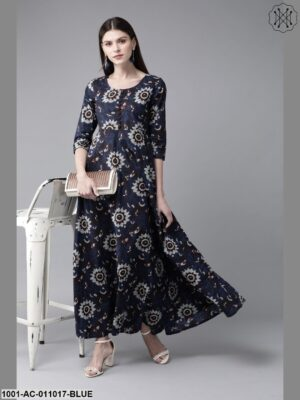 Navy Blue Printed Maxi With Pocket