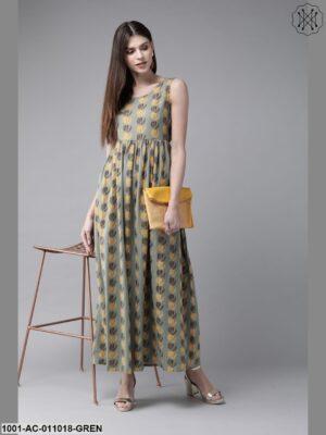 Green Printed Sleeveless Dress