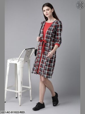 Red And Grey Double Layered Dress