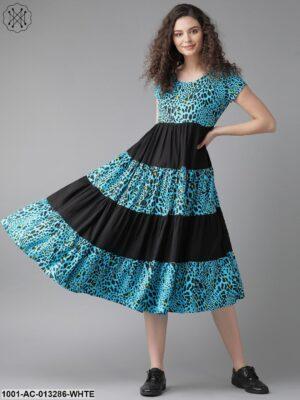 Blue Animal Print Dress