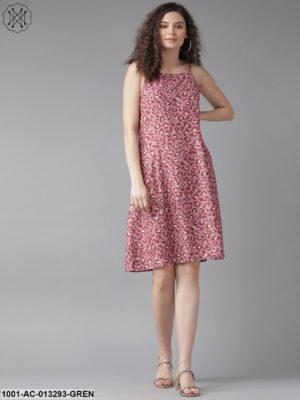 Mauve Leopard Print A-Line Dress