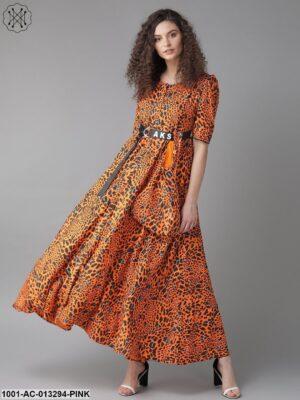 Orange Print Maxi Dress