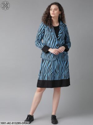 Blue Zebra Print Dress With Jacket