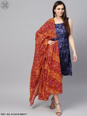 Blue Gold Printed Dress With Dupatta
