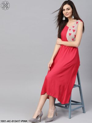 Pink Color Blocked Midi Dress