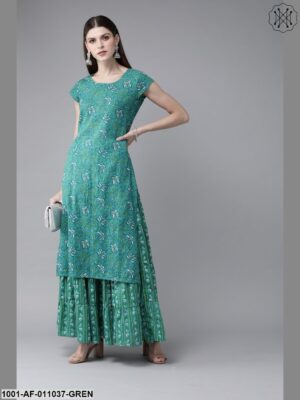 Green Printed Kurta With Skirt