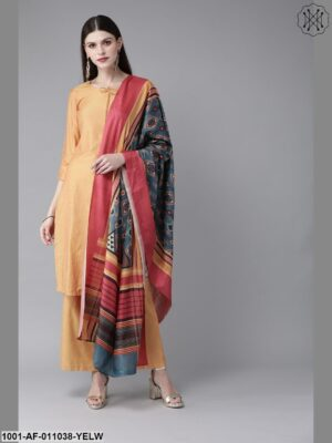 Yellow Chanderi Soild Kurta With Palazzo