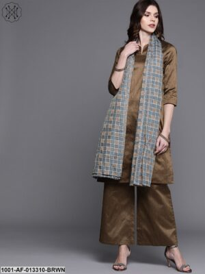 Brown Kurta Set With Dupatta