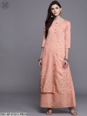 Peach Kurta With Skirt