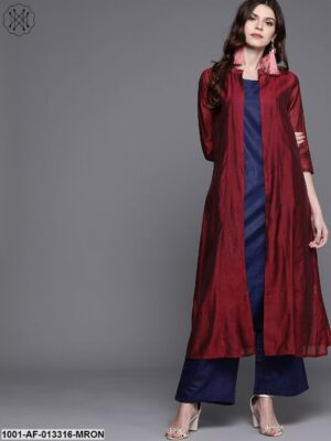 Blue And Red Double Layered Kurta With Palazzo