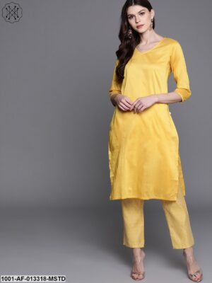 Yellow Soild Kurta With Printed Trousers