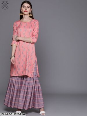 Pink Printed Kurta With Sharara