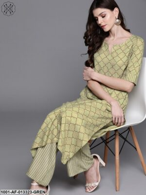 Green Straight Kurta With Palazzo