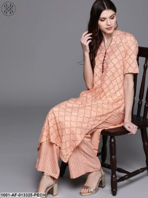 Peach Straight Kurta With Palazzo