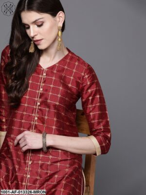 Red Printed Kurta With Palazzo