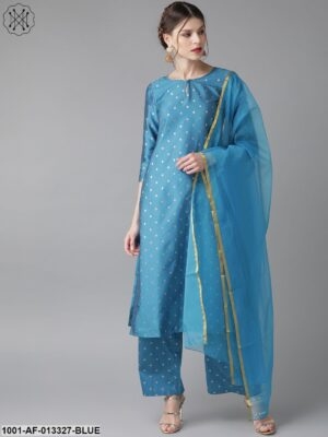 Blue Kurta With Palazzo And Dupatta