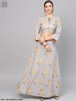 Grey Gold Printed Lehenga With Blouse