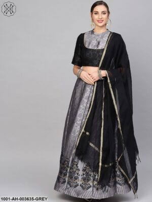 Grey Self Designed Lehenga Choli With Dupatta