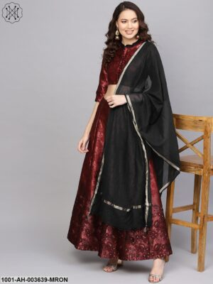 Maroon Self Designed Lehenga Choli With Dupatta