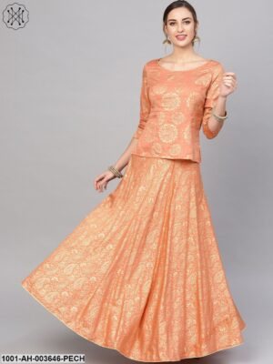 Peach Gold Printed Lehenga With Blouse