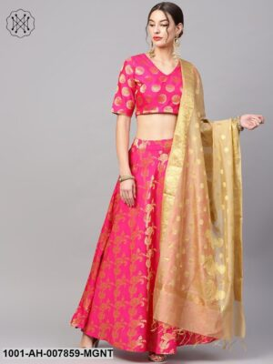 Magenta Gold Self Designed Lehenga Choli With Dupatta