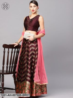 Burgundy Gold Self Designed Lehenga With Blouse And Dupatta