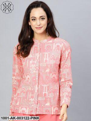 Pink Hawa Mahal printed Shirt with contrast detailing
