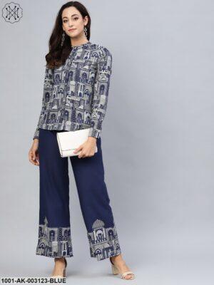 Blue Hawa Mahal printed Shirt with contrast detail