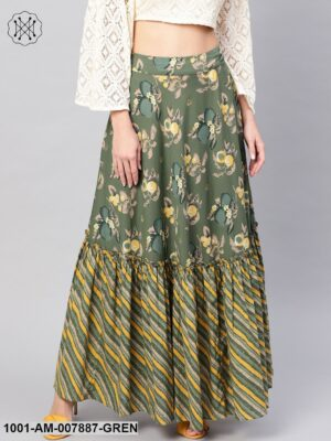 Green Printed Tiered Skirt