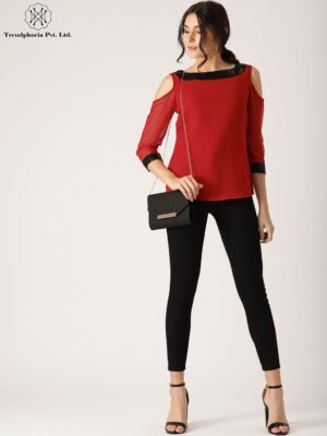 Red Solid Cold Shoulder Top With Sequined Details