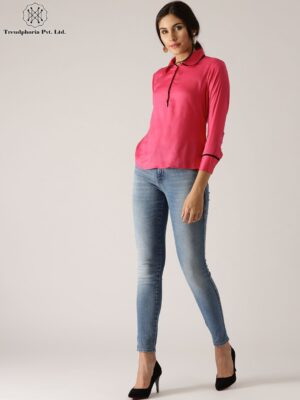 Pink Solid Top With Pipping Details