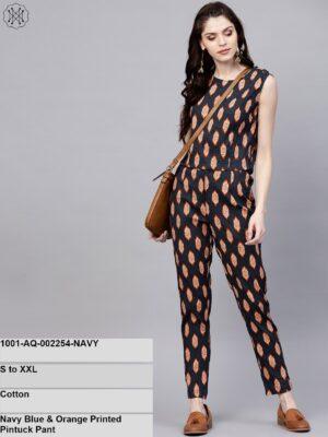 Navy Blue & Orange Printed Pintuck Pant