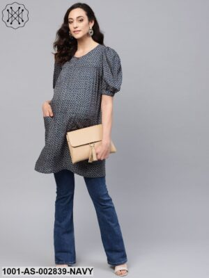 Blue & Beige Printed Maternity Tunic