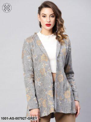 Grey Gold Printed Blazer