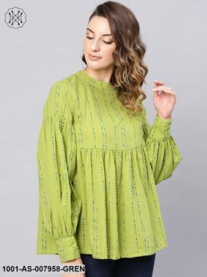 Green Printed Tunic With Bishop Sleeves