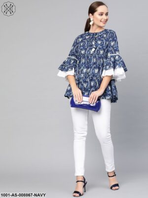 Indigo And White Printed Tunic