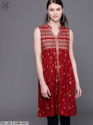 Red Printed A Line Sleevless Tunic