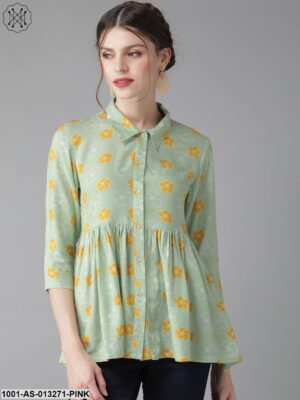 Mint Floral Shirt Tunic