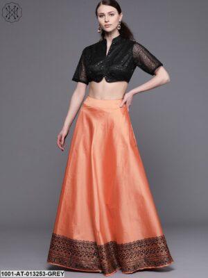 Orange Printed Lehenga with Black Choli