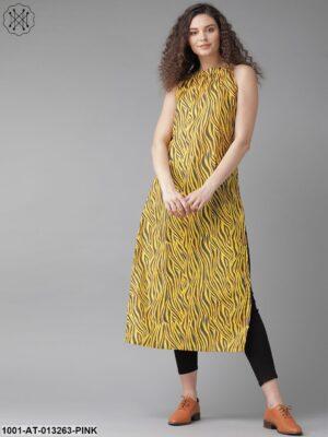 Yellow Zebra Print Kurta