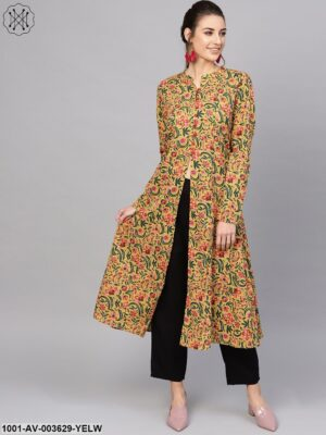 Yellow Floral Printed Front Open Jacket