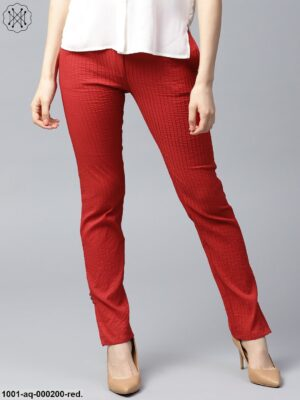 Red Solid Pintuck Pant